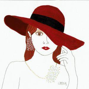 "Pierced earring and Necklace "" Gypsophila"" design & Illustration By AKEN"