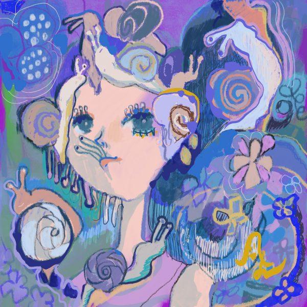 Fairy eating a snail