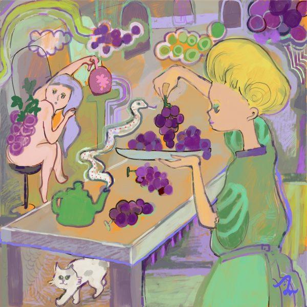 Grape woman and white snake