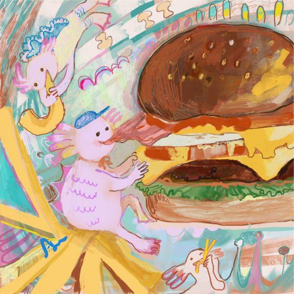 Axolotl eats hamburgers crazy
