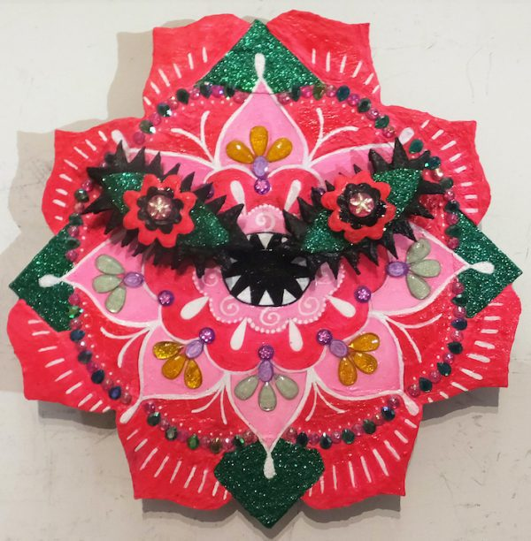 Kumi Hirose - Acrylic, glitter, acrylic jewels, and corrugated paper on canvas