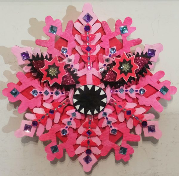 CryKumi Hirose - Acrylic, glitter, acrylic jewels, and corrugated paper on canvasstal of love