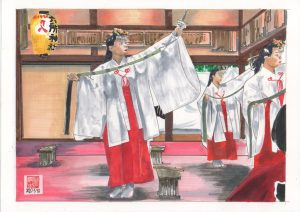 Dance of Shinto ritual Urayasu