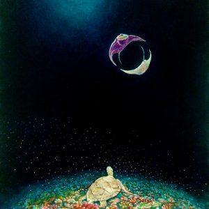 Full Moon - oil painting by JCAT artist Miyazaki Suji