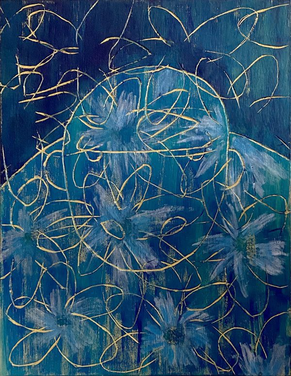Gorilla Flower2 Acrylic artwork by Japanese painter Kenichi Sugimoto