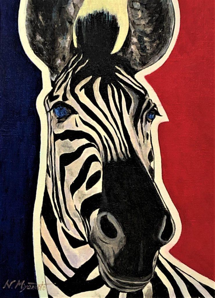 Love and gratitude for nature(No.1:zebra)by JCAT artist and painter Noriko Miyamoto