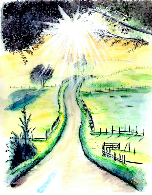 The way of light Watercolor painting by Japanese artist and JCAT member Ikuyo