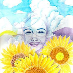 Thef future beyond the smile watercolor painting with vitrail outliner by Japanese artist Ikuyo