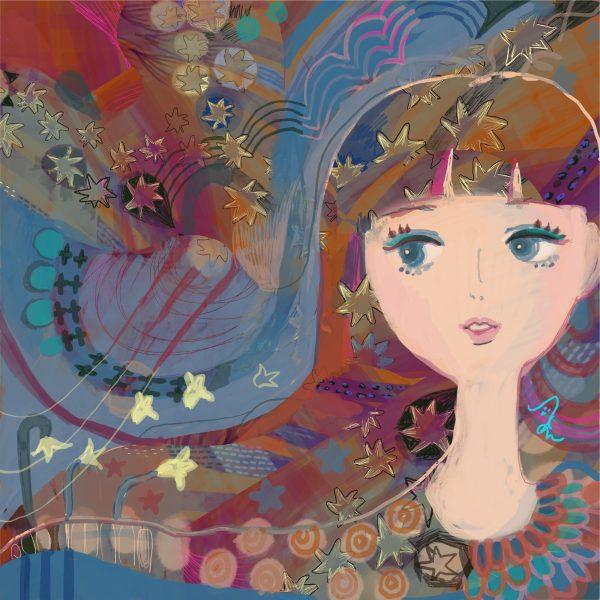 "Desert star girl by Japanese painter AAA_chan Online Exhibition ""NO"" Art Sales Online Art Store"