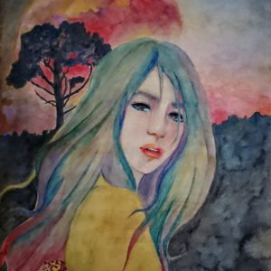 "chie iwai watercolor and acrylic painting Online Exhibition ""NO"" Art Sales Online Art Store"