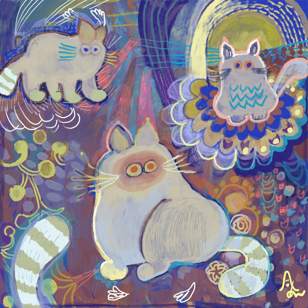 """Cat brother with a cute tail by Japanese painter AAA_chan Online Exhibition """"NO"""" Art Sales Online Art Store"""