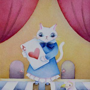 White cat Alice and wonderland