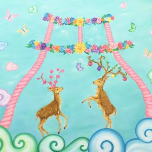 "Deer and flower animal paintings by oil and acrylic painter MIHO Online Exhibition ""Flower"" Art Sales Online Art Store"