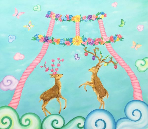 """Deer and flower animal paintings by oil and acrylic painter MIHO Online Exhibition """"Flower"""" Art Sales Online Art Store"""