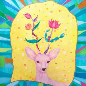 "Deer and flower animal art by oil and acrylic mixed media painterMIHO Online Exhibition ""Flower"" Art Sales Online Art Store"