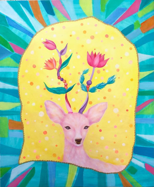 """Deer and flower animal art by oil and acrylic mixed media painterMIHO Online Exhibition """"Flower"""" Art Sales Online Art Store"""