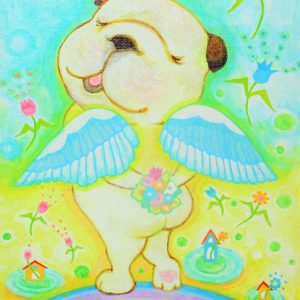 "Painter Happy Bulldog Online Exhibition ""Flower"" Art Sales Online Art Store"