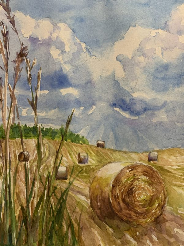 Hay Rolls by Japanese watercolor artist O'Rainbow