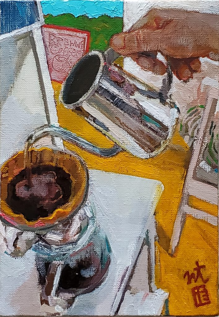 Brewing Coffee Japanese artist oil painter Tadashi-NISHIMORI