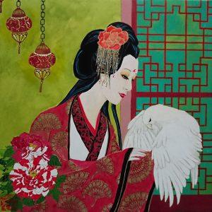 Madam with white hawk