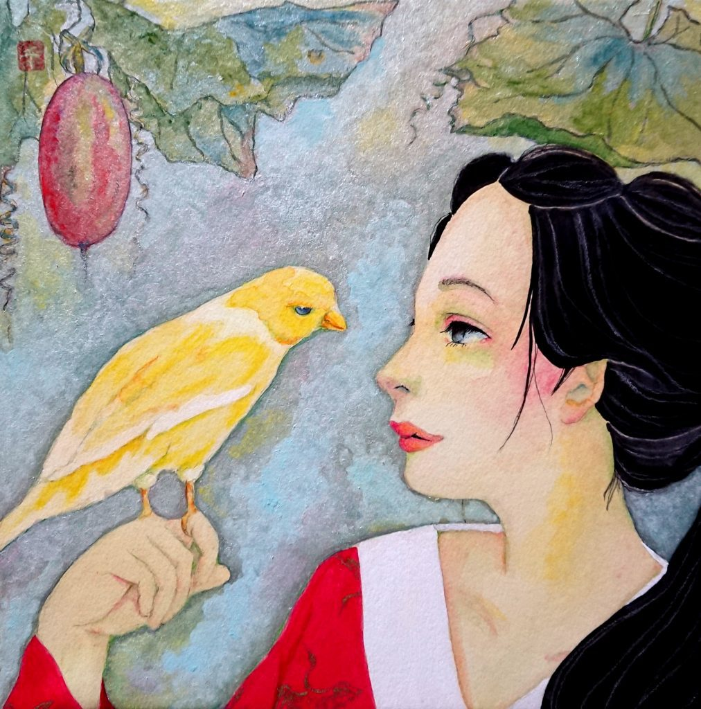 chie iwiai artist and gansai pigment painter