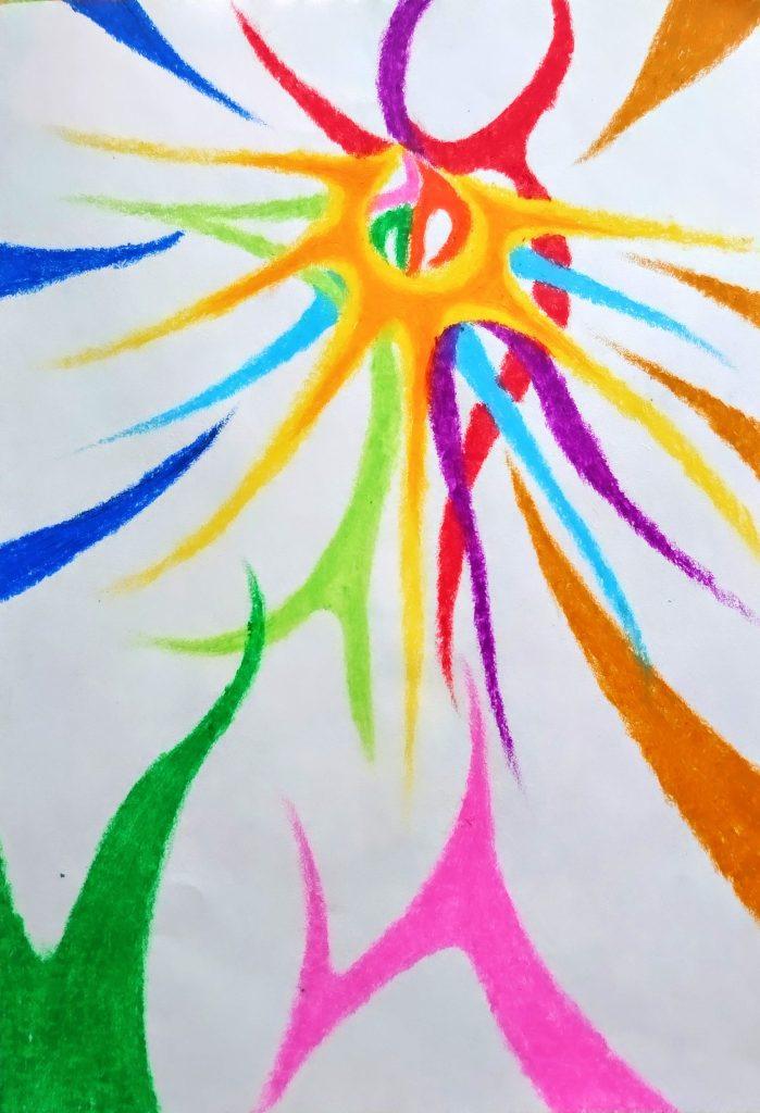 OVERLAP = KASANARU by Japanese crayon artist and painter NIKAU