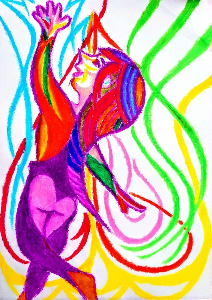 PLAY = TAWAMURERU by Japanese crayon artist and painter NIKAU